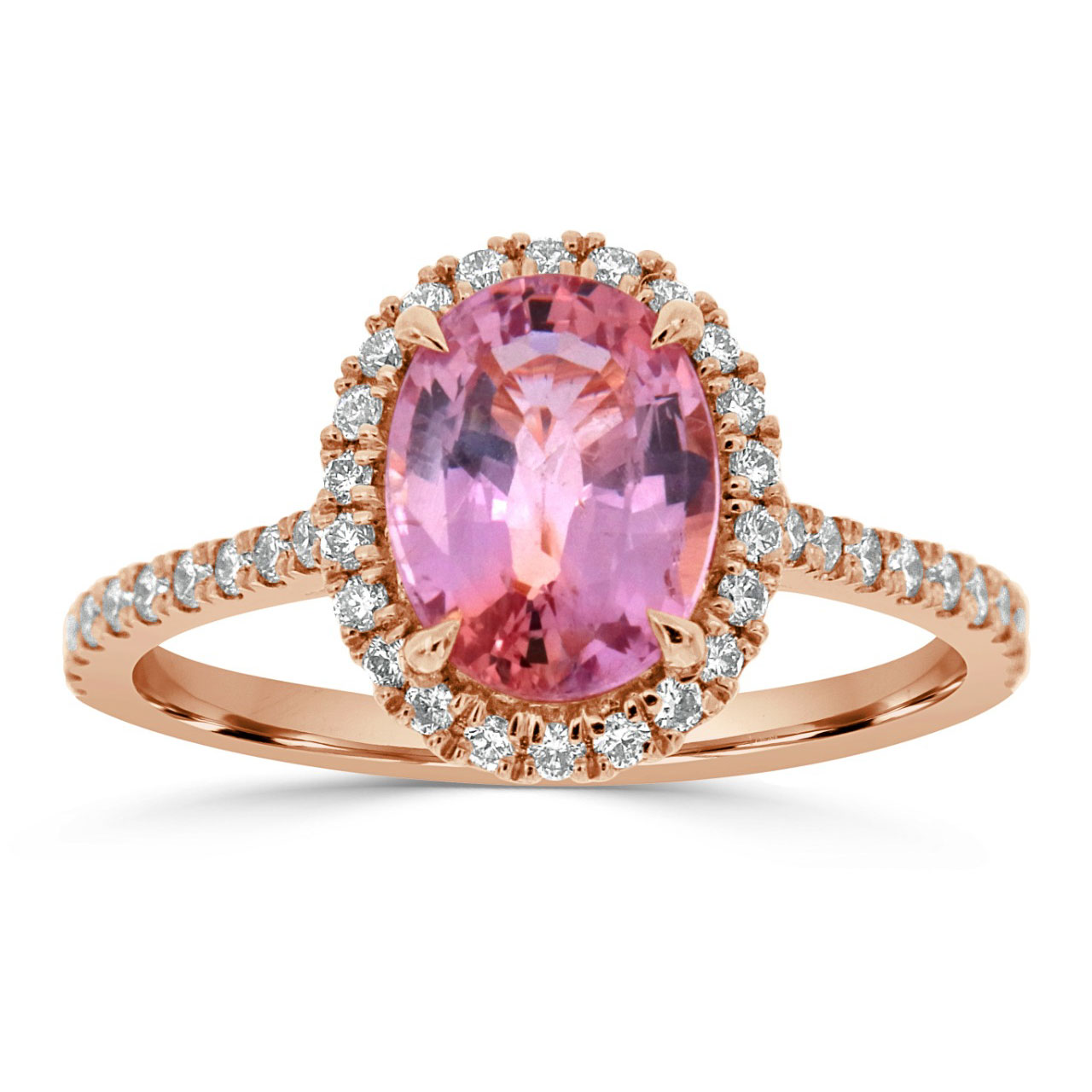 The Art of Jewels – 18K Rose Gold Oval Pink Sapphire Halo Ring GIA (Center 2.11 ct.)
