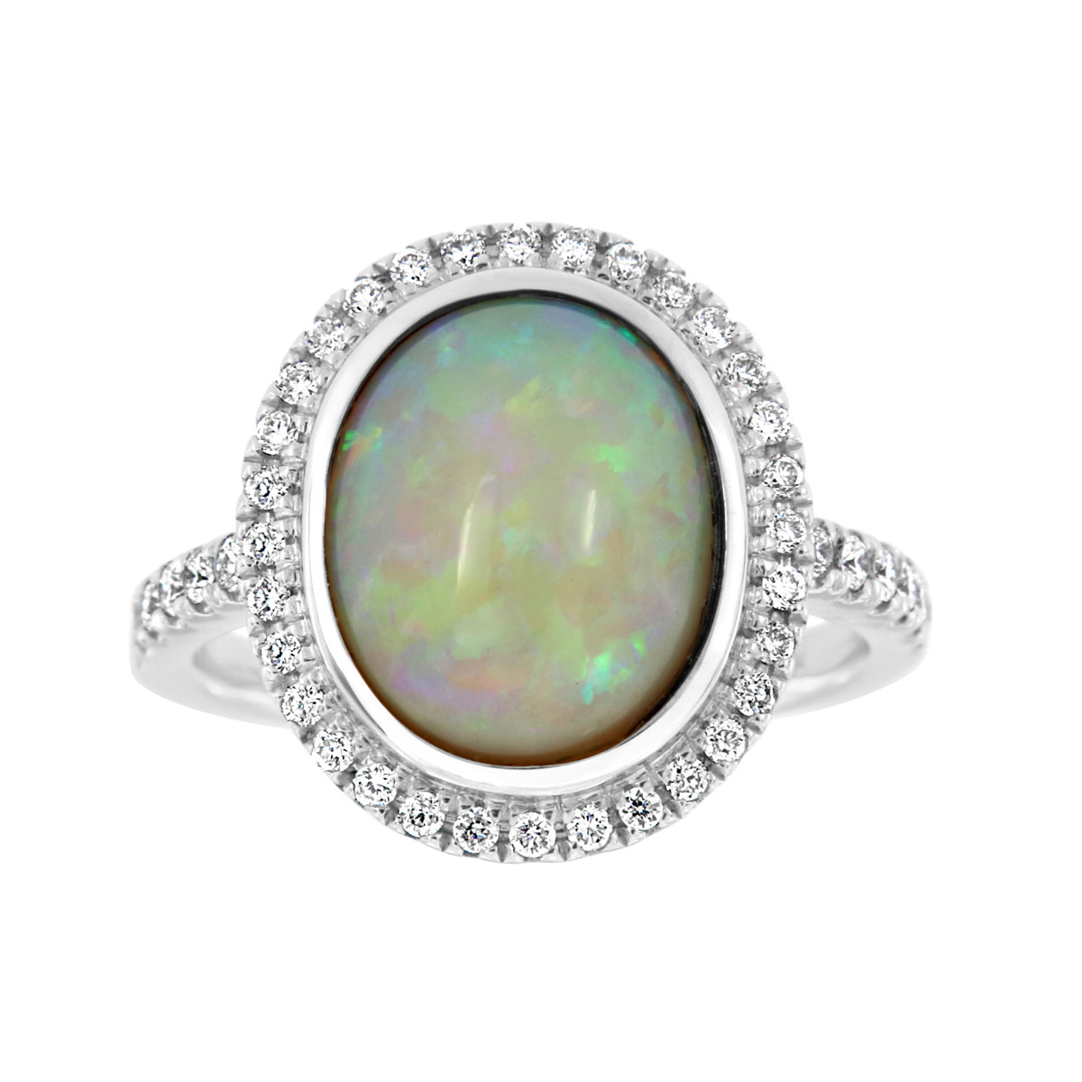 The Art of Jewels – 18K White Gold White Opal Ring (2 2/3 ct .tw)
