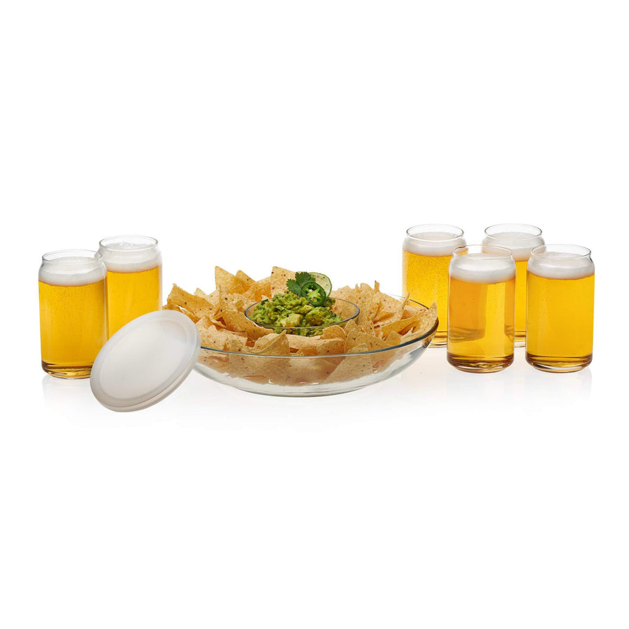 Libbey – Game Night Entertaining Set with 6 Classic Can Tumblers and Chip and Dip Bowls with Plastic Lid