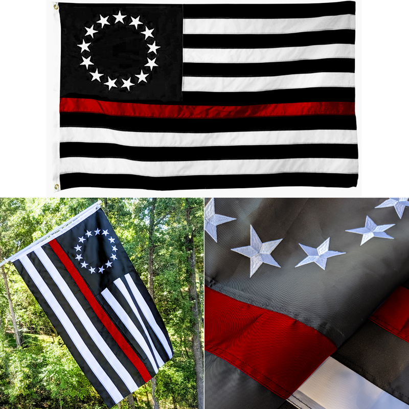 Warrior 12 – Embroidered Thin Red Line Betsy Ross Flag
