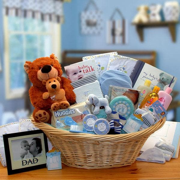 Corner Stork Baby Gifts – Deluxe Welcome Home Baby Gift Basket – Blue