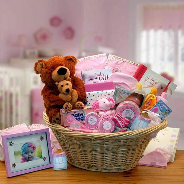 Corner Stork Baby Gifts – Deluxe Welcome Home Baby Gift Basket – Pink