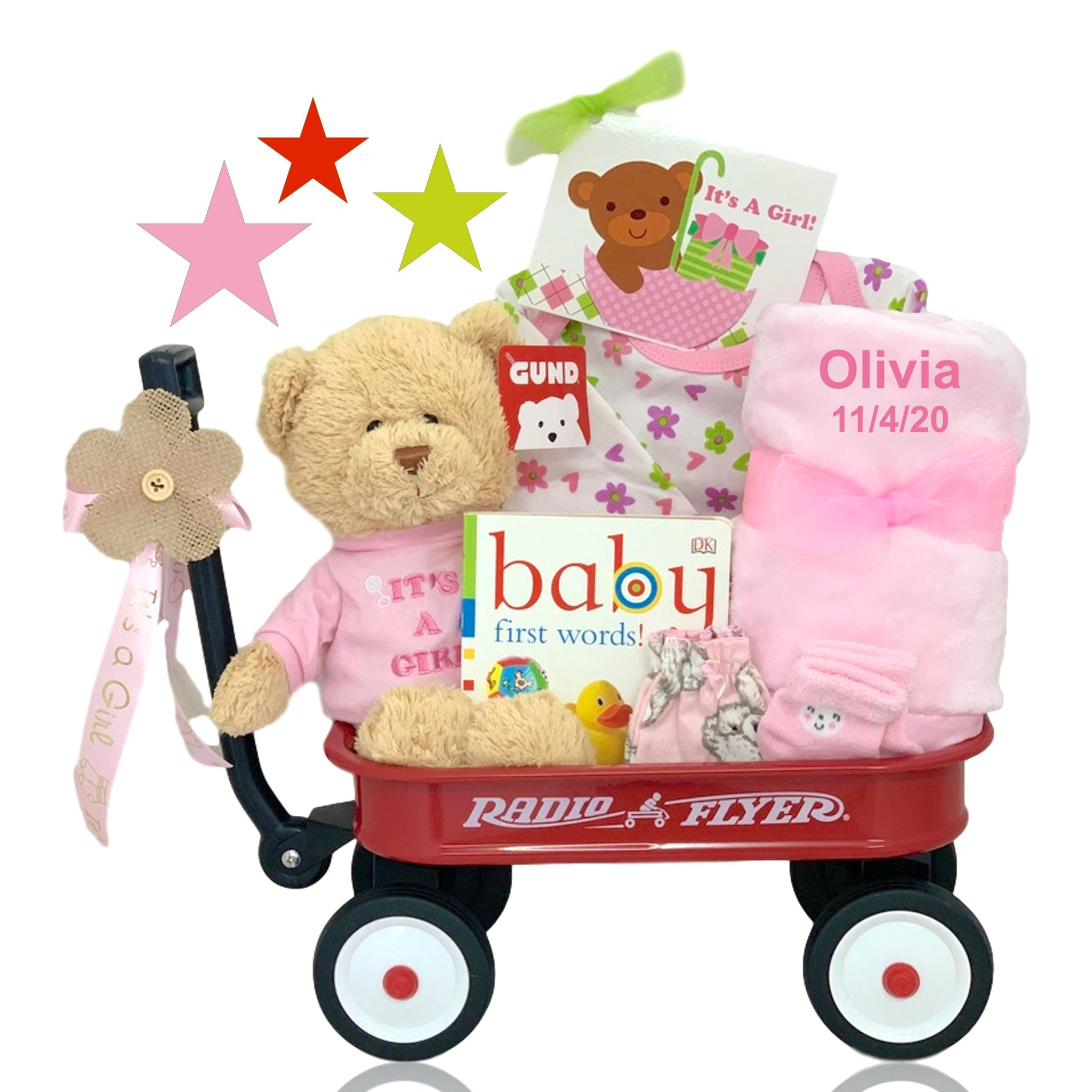 Corner Stork Baby Gifts – Personalized It's A Girl Radio Flyer Wagon Gift Basket