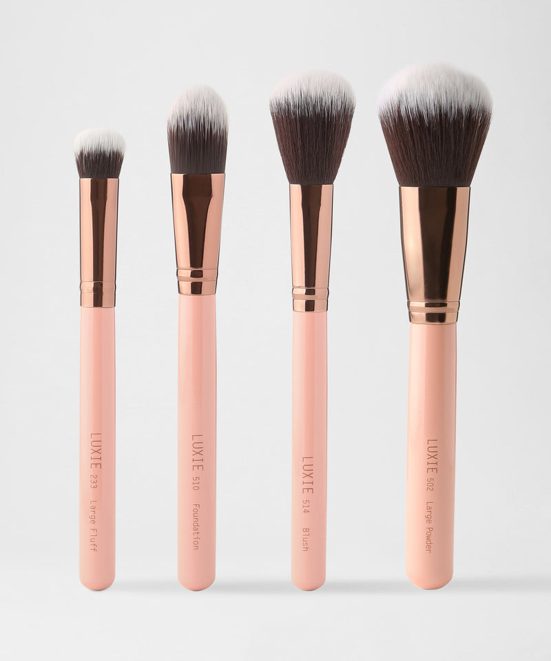 Luxie – Face Complexion Brush Set – Rose Gold