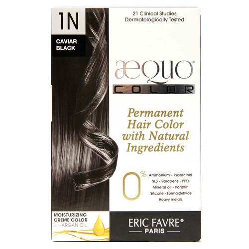 AEQUO Color Cream Natural Hair Color Black – 1N Caviar – One Application