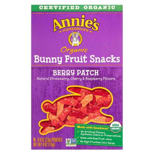 Annies Homegrown Organic Bunny Fruit Snacks Berry Patch – 5 Pouches