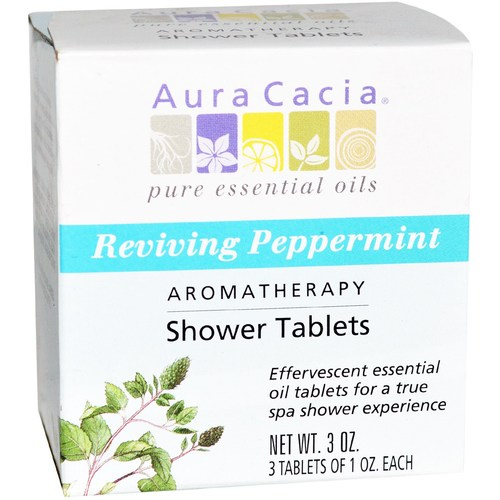 Aura Cacia Aromatherapy Shower Tablets Peppermint – Reviving – 3 Tablets