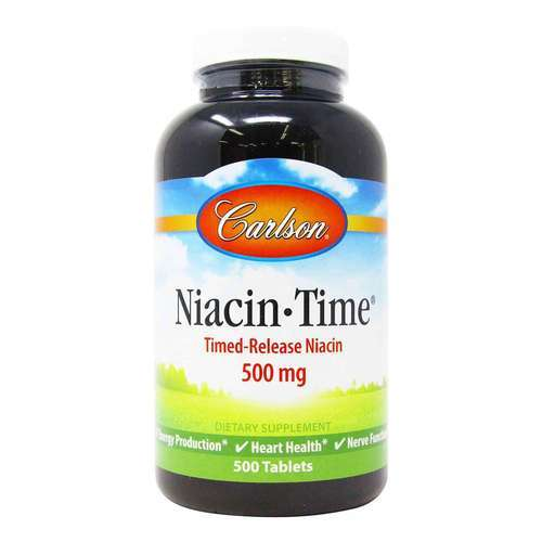Carlson Labs Niacin-Time 500 mg Timed Release – 500 Tablets