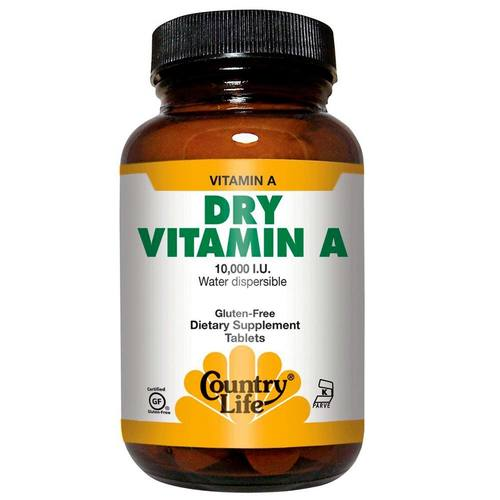 Country Life Dry Vitamin A – 10,000 IU – 100 Tablets