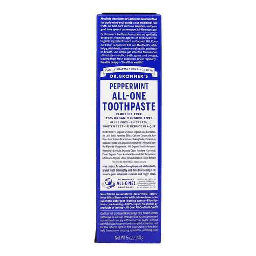 Dr. Bronner's All-One Toothpaste Peppermint – 5 oz (140 g)