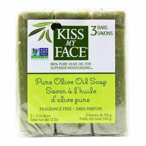 Kiss My Face Fragrance Free Pure Olive Oil Soap – 3 – 4 oz Bars