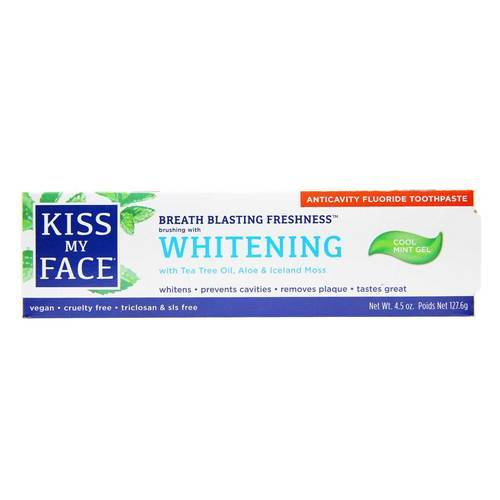 Kiss My Face Whitening Anticavity Fluoride Toothpaste Cool Mint – 4.5 oz