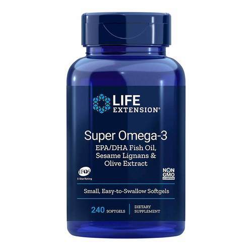 Life Extension Super Omega-3 EPA DHA with Sesame Lignans Olive Extract – 240 Softgels