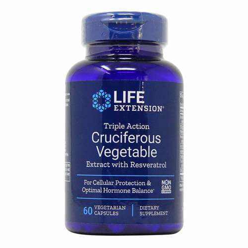 Life Extension Triple Action Cruciferous Vegetable Extract with Resveratrol – 60 VCapsules