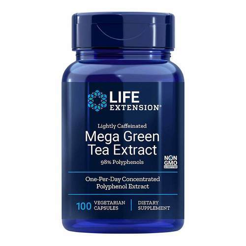 Life Extension Mega Green Tea Extract Lightly Caffeinated – 725 mg – 100 Vegetarian Capsules