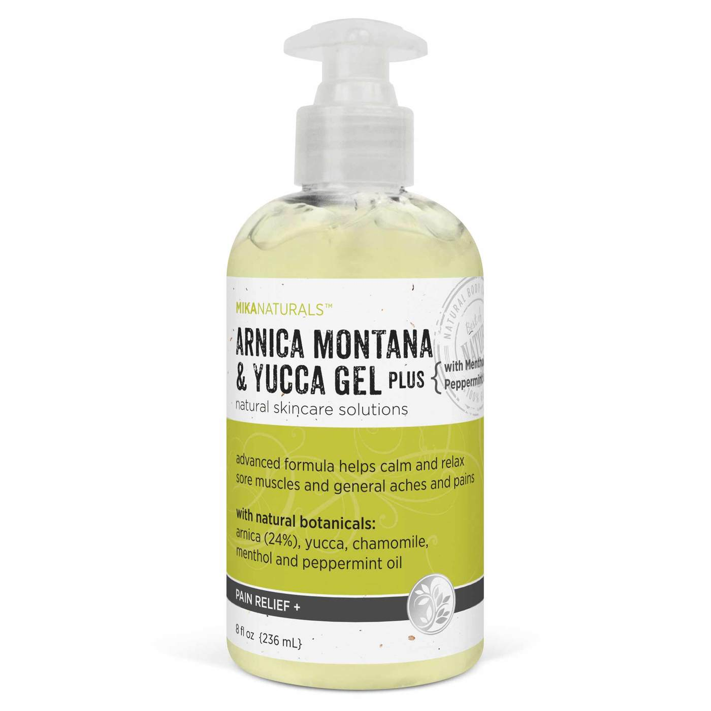 Mika Naturals Pain Relief Arnica Montana and Yucca Gel (with Menthol) – 8 fl oz (236 mL)
