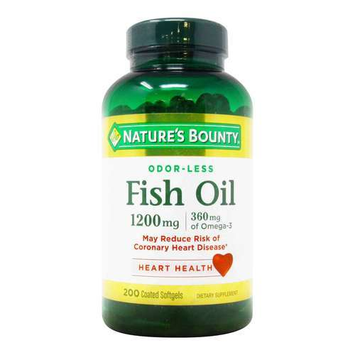 Nature's Bounty Odor-Less Fish Oil – 1,200 mg – 200 Coated Softgels