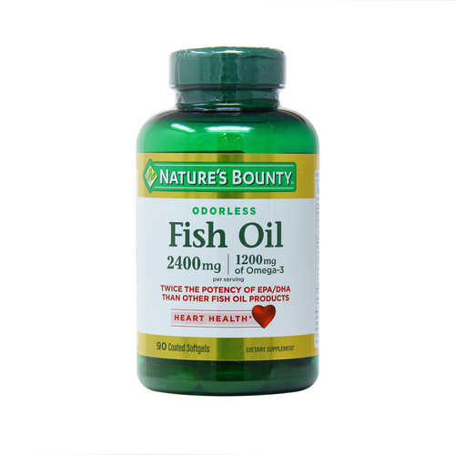 Nature's Bounty Odor-Less Double Strength Fish Oil – 2,400 mg – 90 Coated Softgels