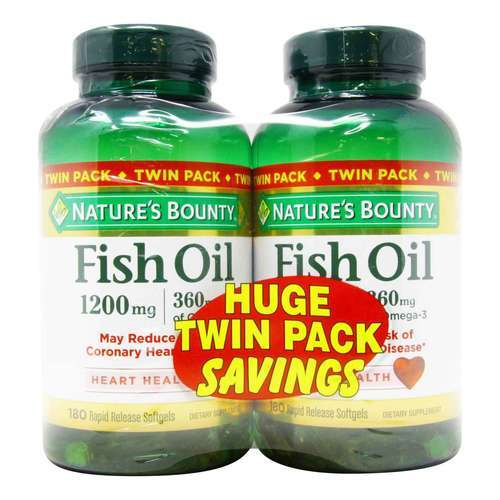Nature's Bounty Fish Oil Twin Pack – 1,200 mg – Twin Pack – 180 Softgels Per Bottle