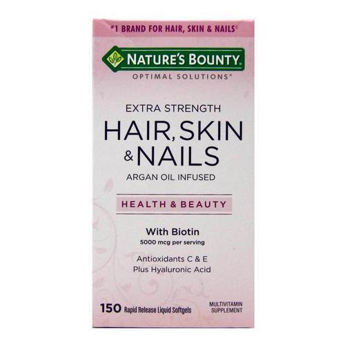 Nature's Bounty Optimal Solutions Extra Strength Hair- Skin Nails – 150 Liquid Softgels