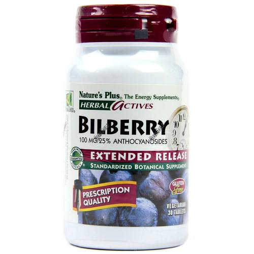 Nature's Plus Bilberry Extended Release – 100 mg – 30 Tablets