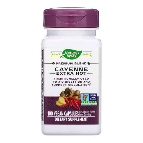 Nature's Way Cayenne Extra Hot – 450 mg – 100 Vegetarian Capsules