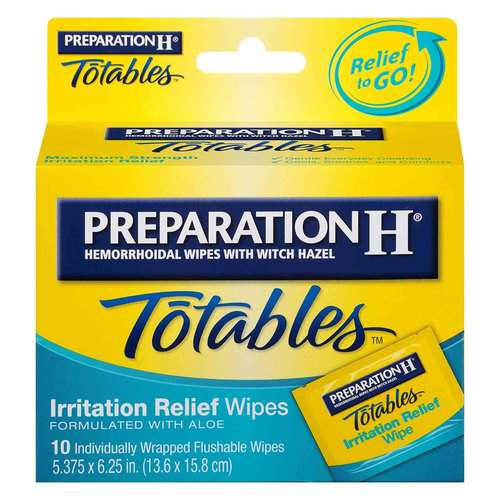 Preparation H Totables Irritation Relief Medicated Wipes – 10 Individual Wrapped Wipes