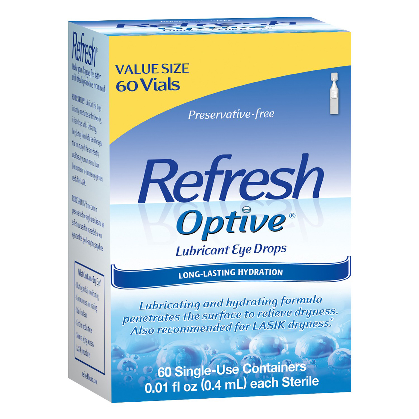 Refresh Optive Lubricant Sensitive Eye Drops – 60 Single Use Containers