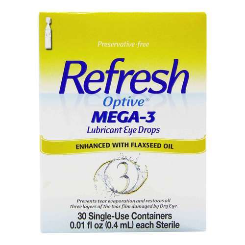 Refresh Optive Mega-3 Lubricant Eye Drops – 30 Single Use Containers