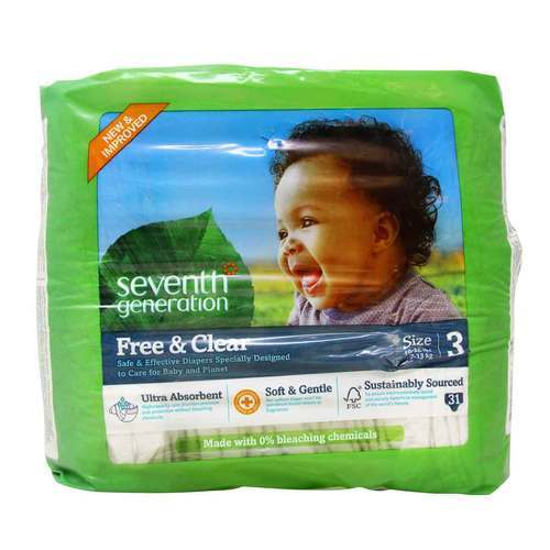 Seventh Generation Free and Clear Diapers Stage 3 (16-28 lbs) – 31 Diapers
