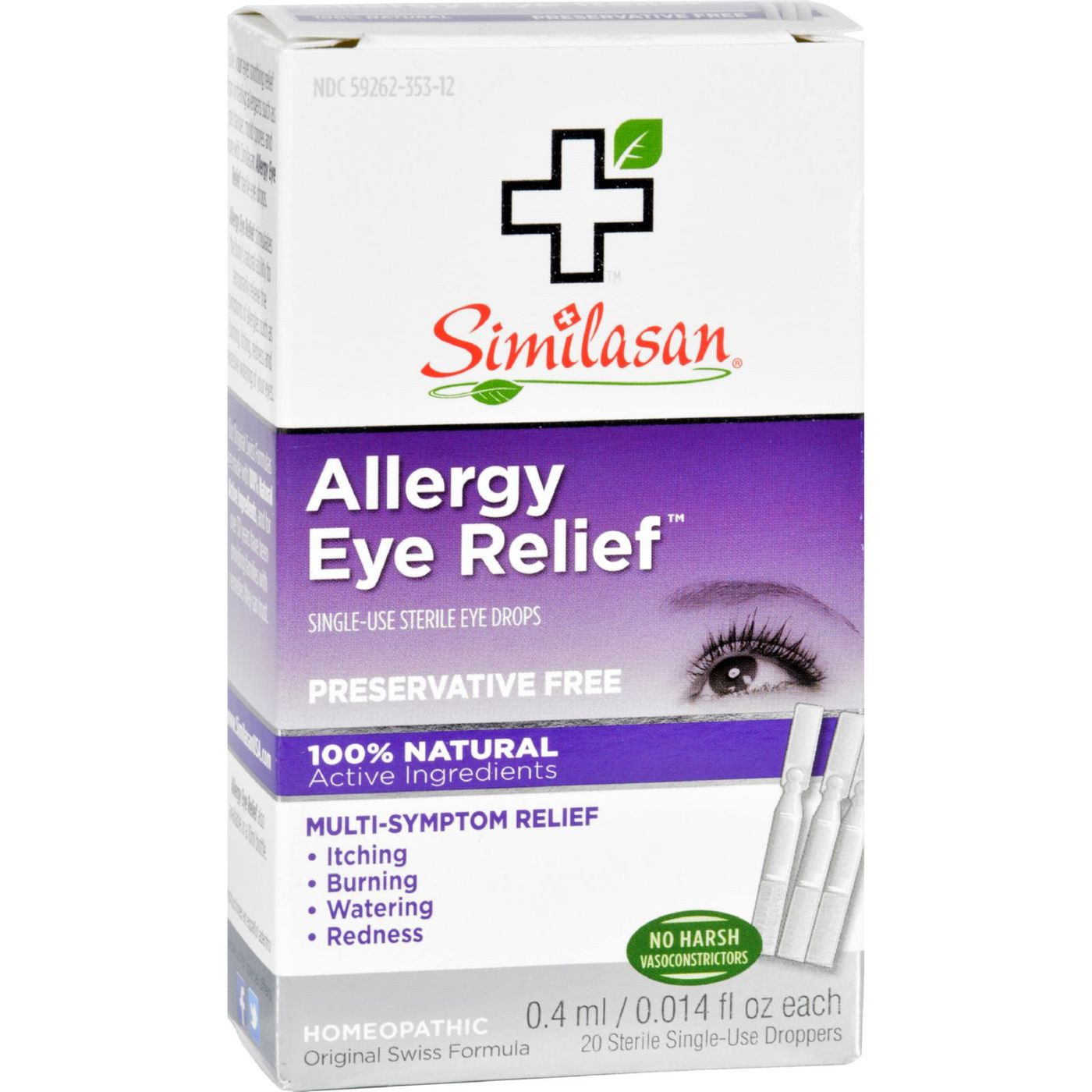 Similasan Allergy Eye Relief – 20 Single Use Droppers