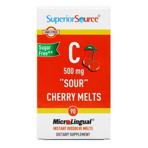 Superior Source C 500 mg Sour Cherry Melts Cherry – 90 Tablets