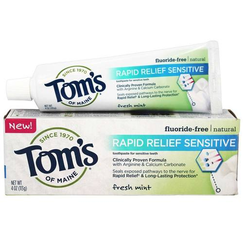 Tom's of Maine Natural Rapid Relief Sensitive Fluoride-Free Toothpaste Fresh Mint – 4 oz