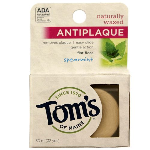 Tom's of Maine Naturally Waxed Anti-Plaque Flat Floss Spearmint – 32 Yards