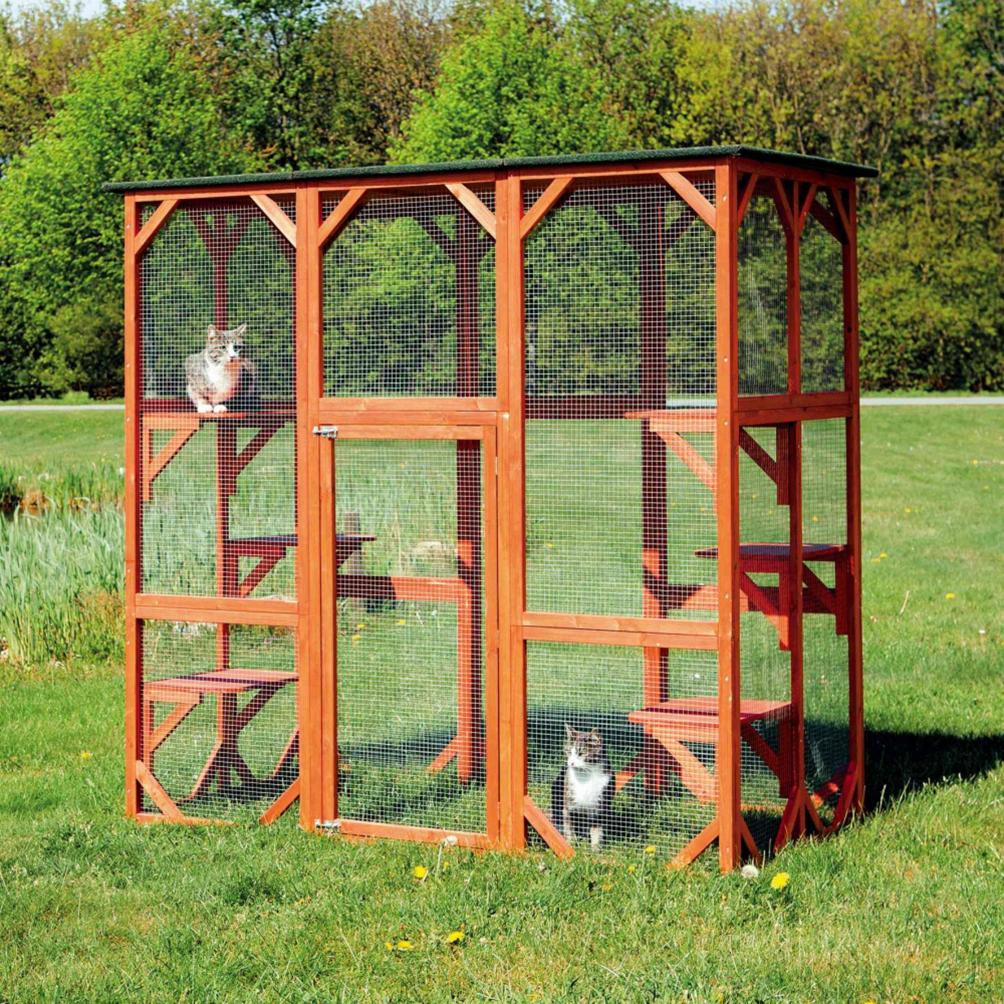 BaxterBoo – Trixie Wooden Outdoor Cattery Cat Sanctuary