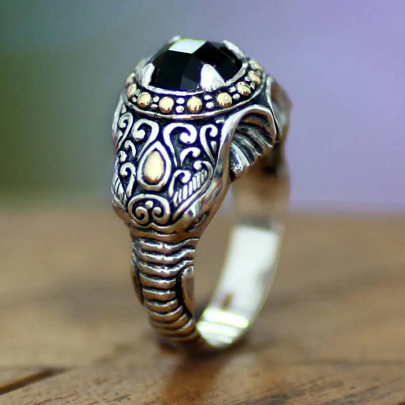 """NOVICA – Men's Handcrafted Sterling Silver and Onyx Ring, """"Elephant Warrior"""""""