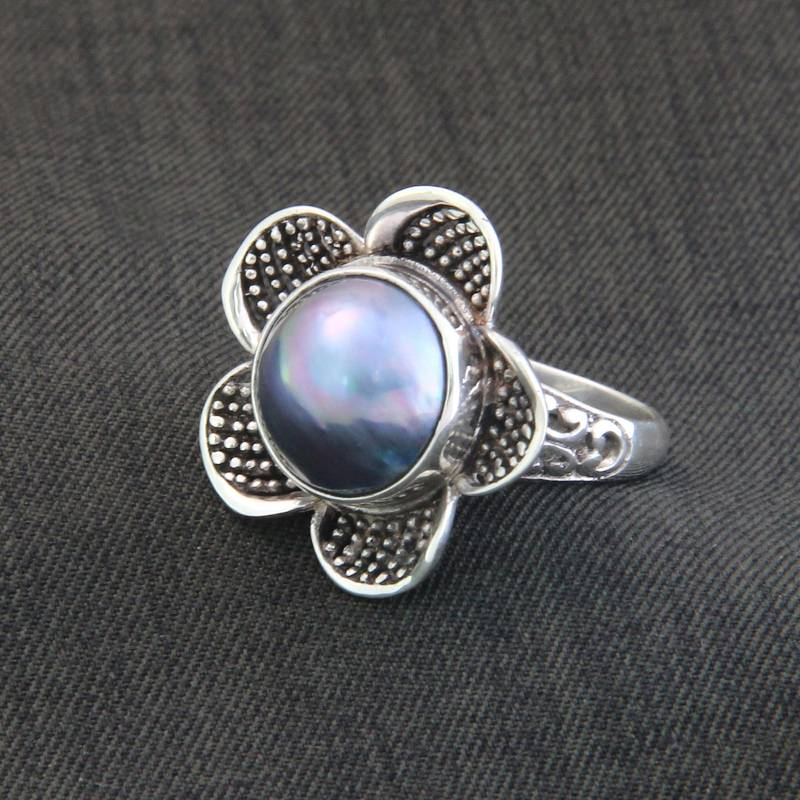 """NOVICA – Handcrafted Floral Sterling Silver and Pearl Ring, """"Blue Jasmine"""""""