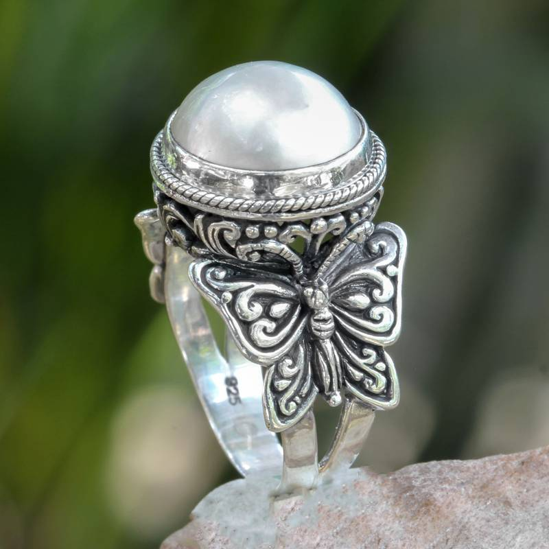 """NOVICA – Mabe Pearl on Sterling Silver Ring with Butterflies, """"Butterfly Moon"""""""