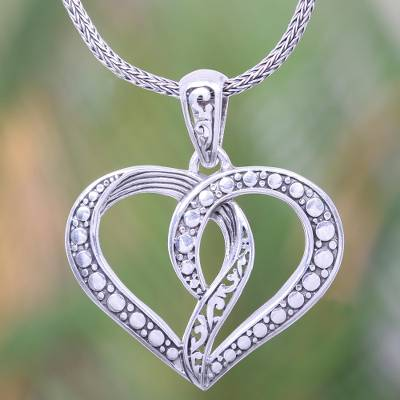 """NOVICA – Romantic Balinese Heart Necklace Crafted of Sterling Silver, """"Unity of the Heart"""""""