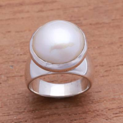 """NOVICA – Gleaming Cultured Pearl Cocktail Ring from Bali, """"Gleaming Dome"""""""