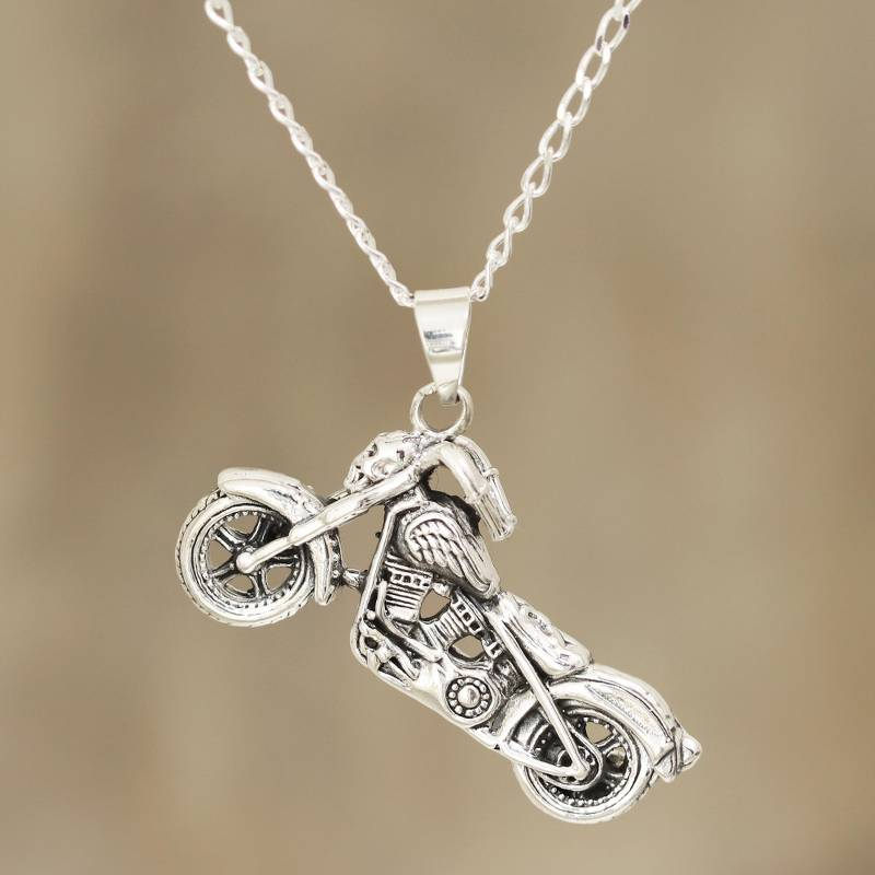 """NOVICA – Men's Sterling Silver Motorcycle Pendant Necklace from India, """"Easy Rider"""""""