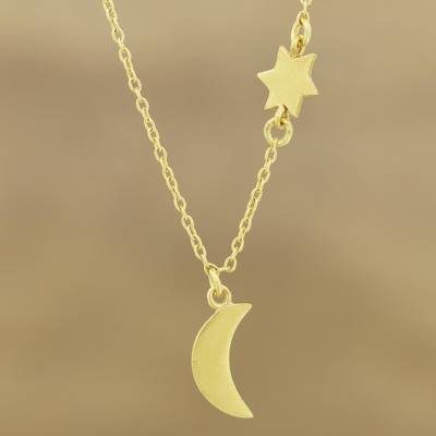 """NOVICA – Gold Plated Sterling Silver Moon and Star Pendant Necklace, """"Celestial Glisten"""""""