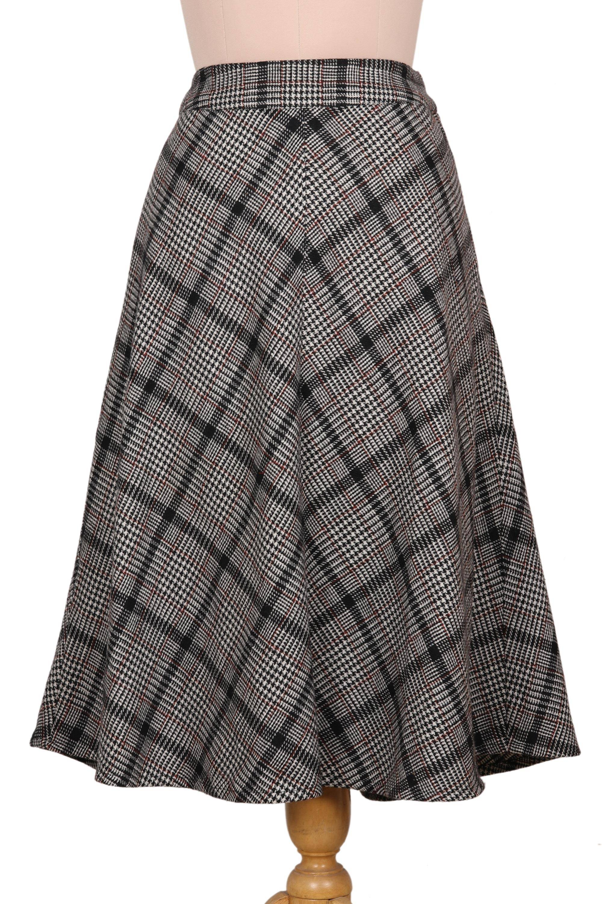 """NOVICA – Hand Crafted Wool Blend Houndstooth Skirt, """"Jaipur Chic in Houndstooth"""""""