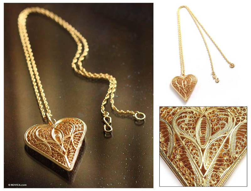 """NOVICA – Fair Trade Heart Shaped Gold Plated Filigree Necklace, """"Heart of Lace"""""""