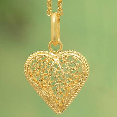 """NOVICA – Gold Plated Filigree Heart Necklace, """"Lace Sweetheart"""""""