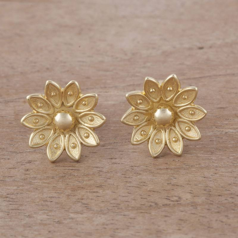 """NOVICA – Floral Gold Plated Sterling Silver Stud Earrings from Peru, """"Gleaming Lotus"""""""