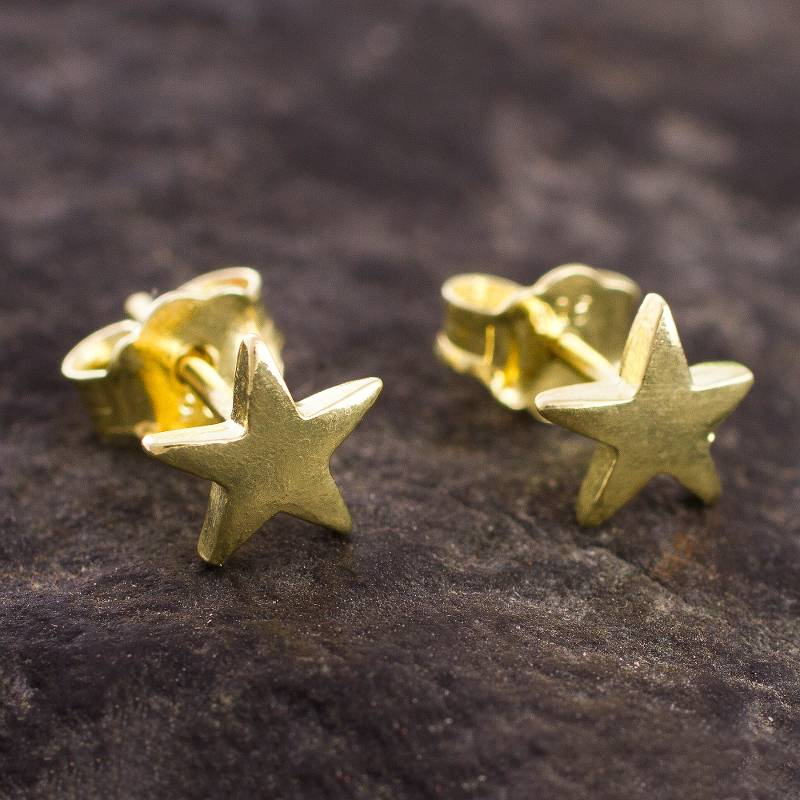 """NOVICA – 18k Gold Plated Sterling Silver Star Stud Earrings from Peru, """"Wondrous Stars"""""""