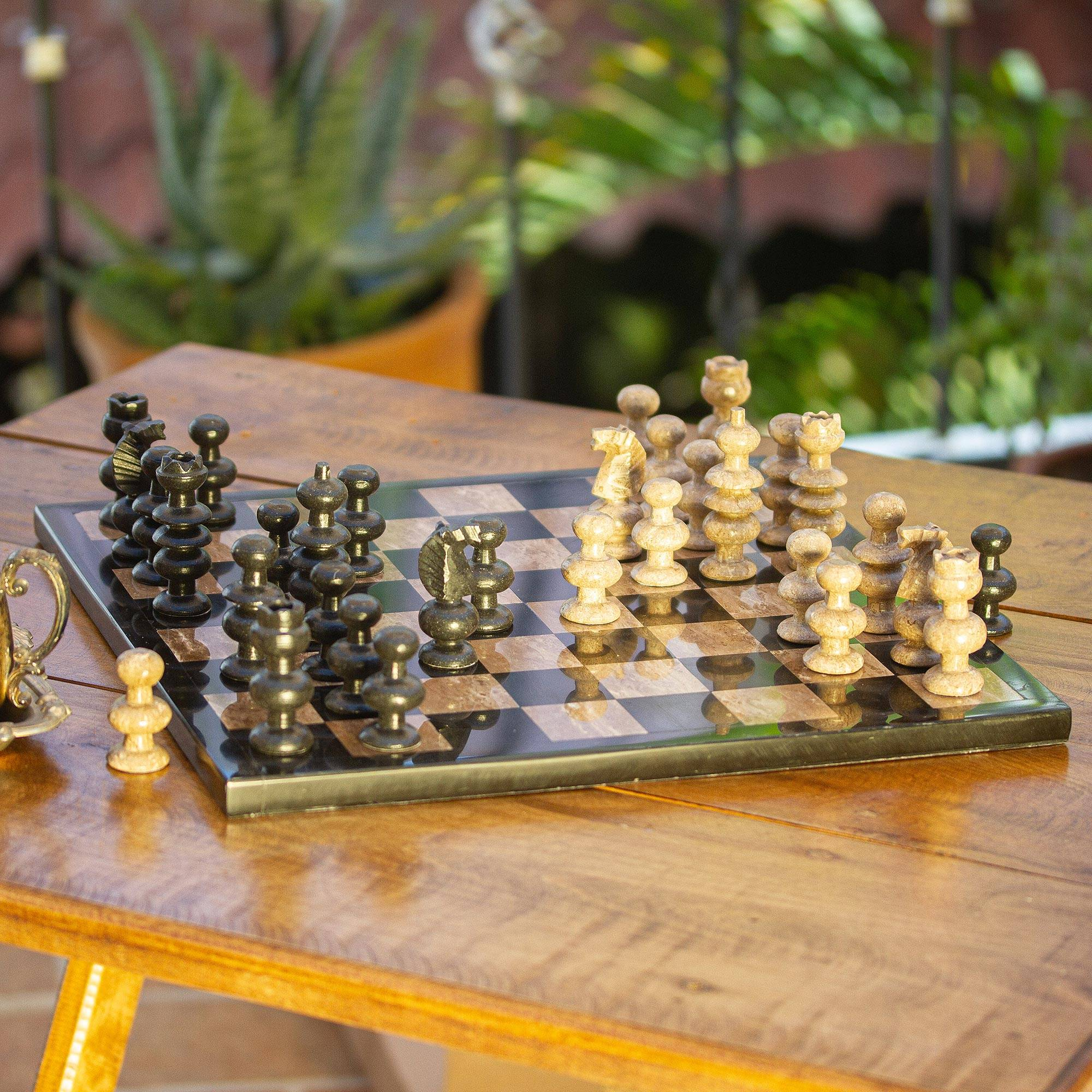 """NOVICA – Marble Chess Set in Beige and Black from Mexico, """"Worthy Match"""""""