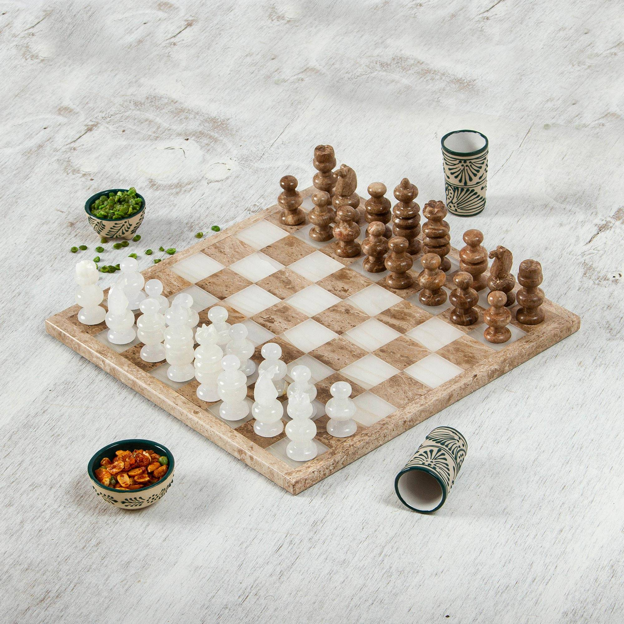 """NOVICA – Onyx and Marble Chess Set in Brown and Beige (13.5 in.), """"Nature's Challenge"""""""