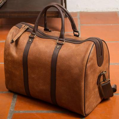 """NOVICA – Burnt Sienna and Espresso Leather Travel Bag from Mexico, """"Fashionable Traveler"""""""